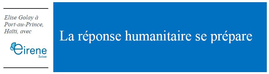 Lettre circulaire Élise Golay   Haïti   Février 2020