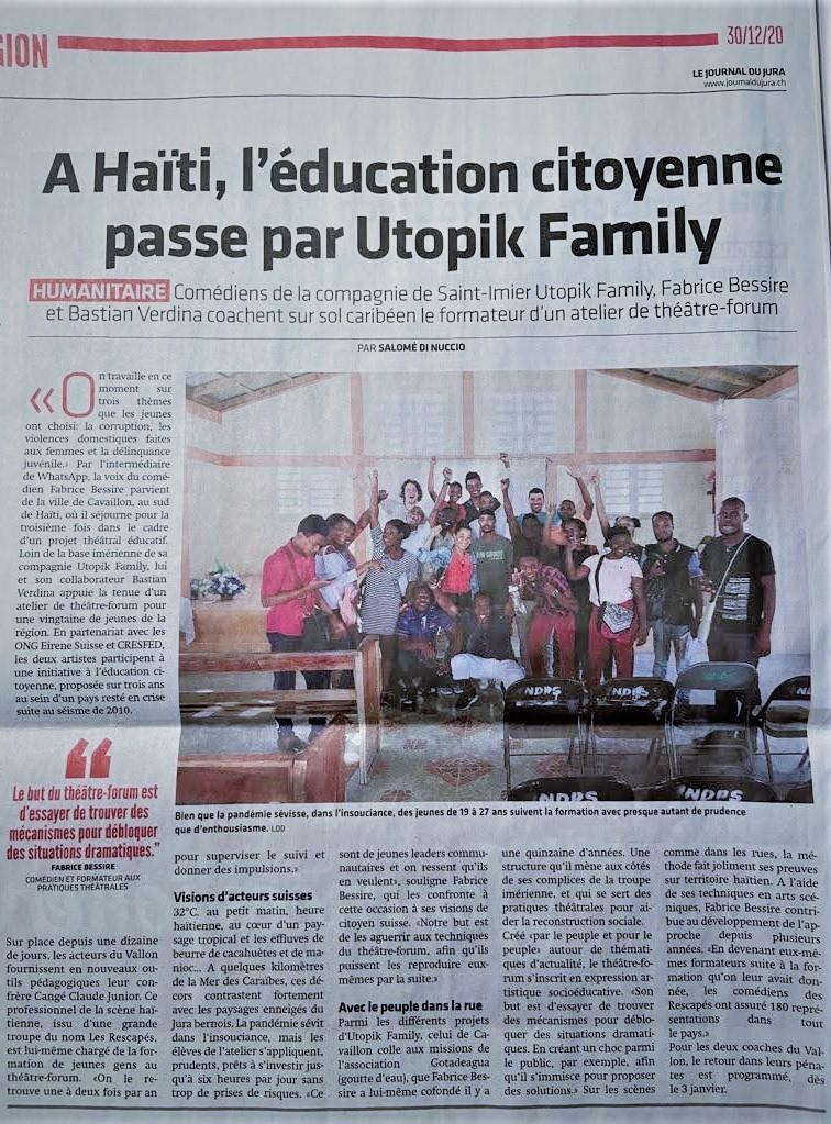 Haïti: pratiques théâtrales avec notre volontaire de la compagnie Utopik Family