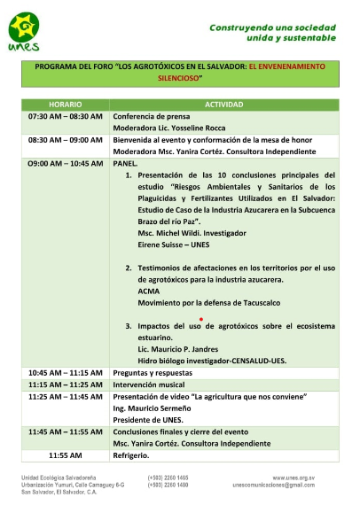 """Forum : """"Les produits agro-toxiques au Salvador : un empoisonnement silencieux"""" (En espagnol)"""
